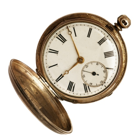 pocket watch: Old pocket watch, open, isolated on white background