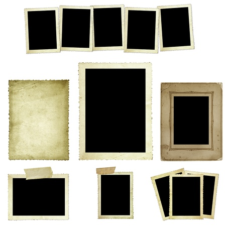Collection of vintage photo frames or borders, isolated on white  Stock Photo