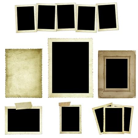 vintage foto: Het verzamelen van vintage foto frames of grenzen, geïsoleerd op wit