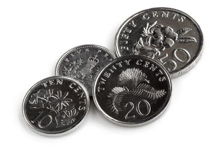Singapore coins, isolated on white background  photo