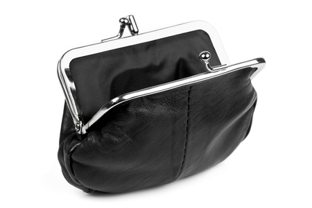 change purse: Black change purse, open, isolated on white