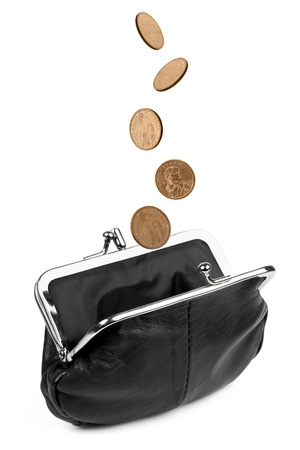 change purse: Coins falling into a black change purse, isolated on white  Stock Photo