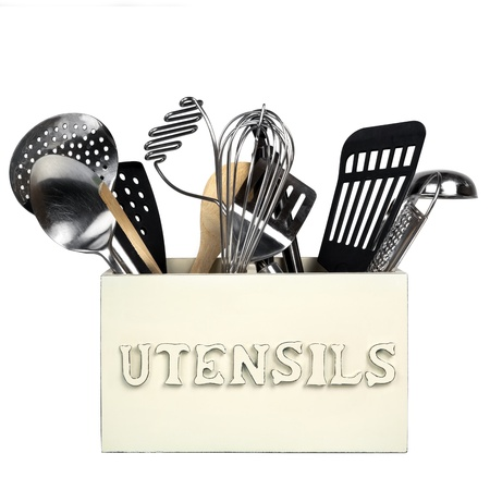 Box of kitchen utensils, isolated on white   Shabby chic style  photo
