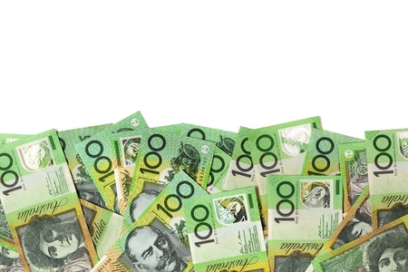 foreign currency: Australian one hundred dollar bills over white background  Stock Photo