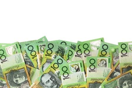 australian money: Australian one hundred dollar bills over white background  Stock Photo