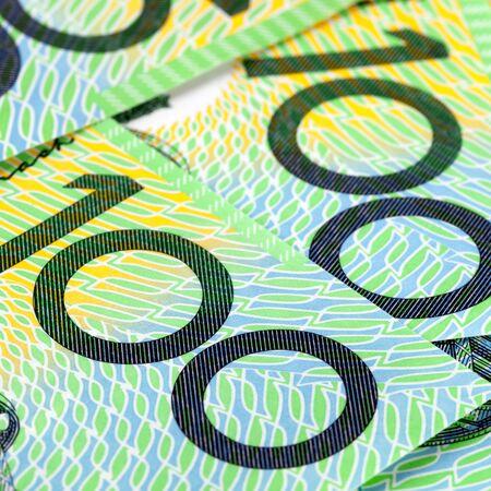 australian dollar notes: Australian one hundred dollar bills in close-up   Square crop