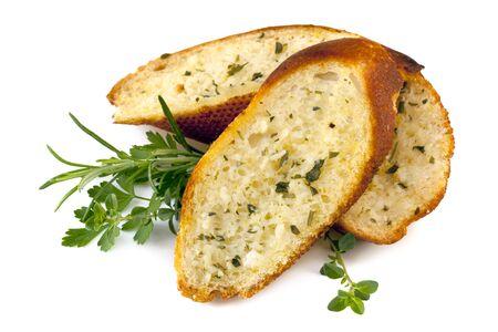 ajo: Pan de ajo con hierbas, aislado en blanco Foto de archivo