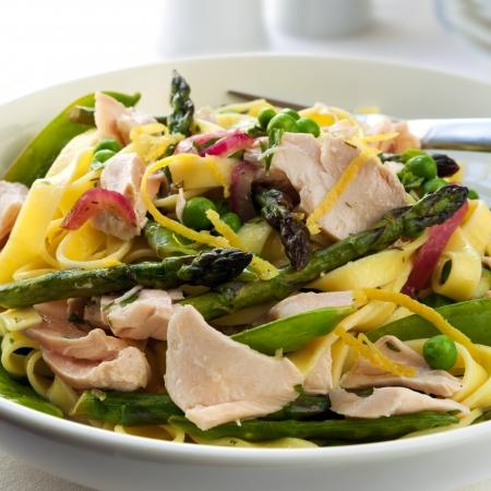 primavera: Pasta primavera made with linguine and fresh flaked salmon.