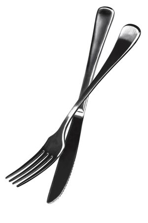 suspend: Knife and fork isolated on white. Stock Photo