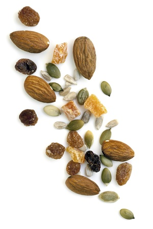 Trail mix isolated on white background.  Overhead view. photo