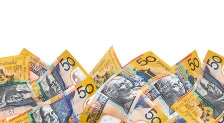 australian dollar notes: Border of Australian fifty dollar notes, over white background