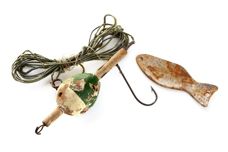floater: Vintage fishing line with floater, sinker and rusted hook, isolated on white