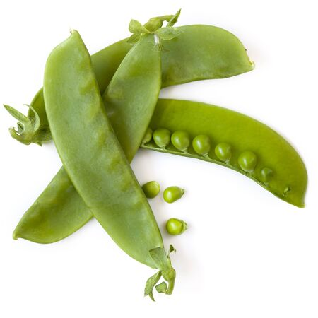 Snow peas or mange-tout, isolated on white background