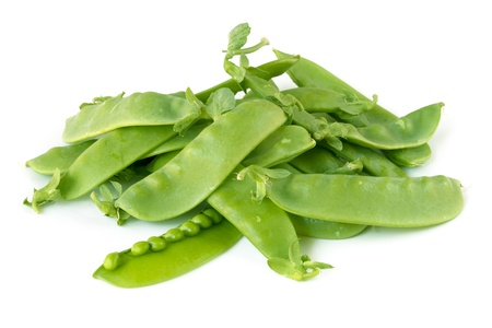 peas: Heal of snow peas or mange-tout, isolated on white background