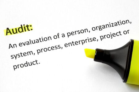 audit: Definition of the word Audit, highlighted by yellow marker.