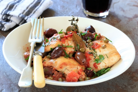 casserole dish: Chicken stew or cacciatore, with red wine.