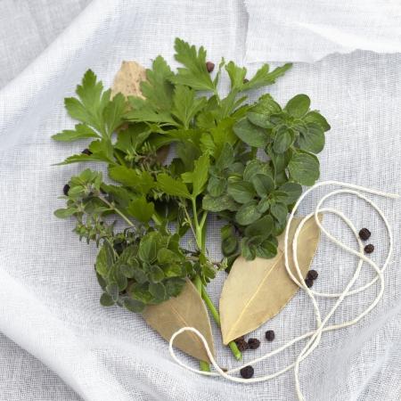 Kräuter und Gewürze mit Schnur und Musselin, bereit, Bouquet garni machen.