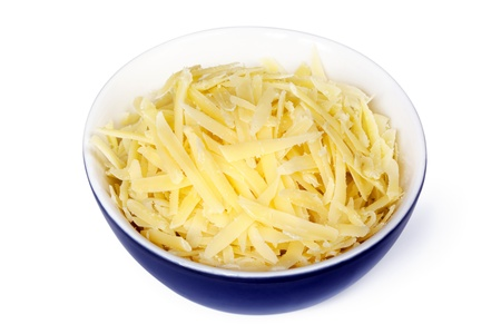 Grated cheddar cheese in small  blue bowl, isolated on white. Clipping path included. Stock Photo - 18172607