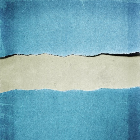Torn blue paper with copy-space between   Grunge effects  photo