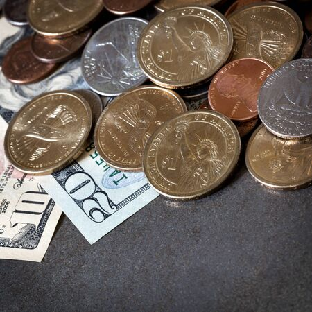 American money over slate background   Coins and notes  photo