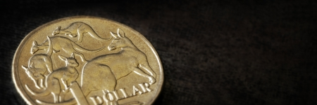 Australian dollar coin in close-up over dark slate background   Panorama crop  photo