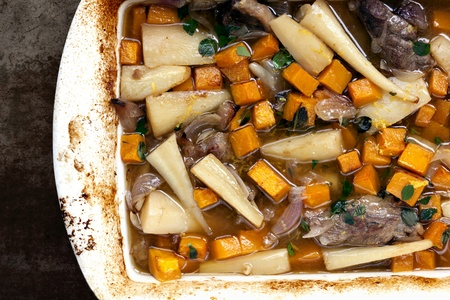 parsnips: Slow-cooked lamb casserole with squash and parsnips  Stock Photo