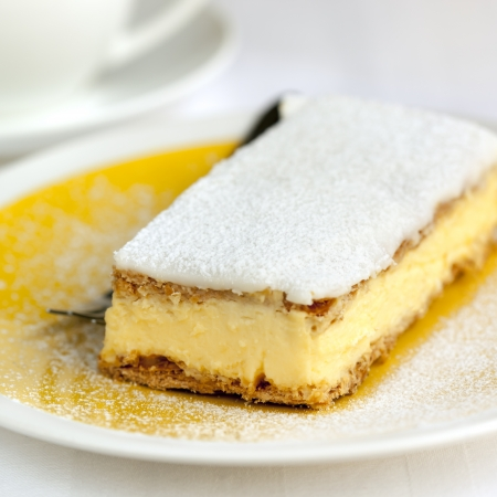 Vanilla slice or mille feuille pastry.