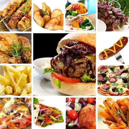 pinchos morunos: Collage de artículos de comida rápida, como hamburguesas, wraps, pollo, kebabs, patatas fritas y perritos calientes.