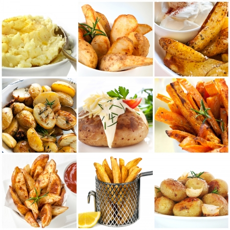 Collection of potato dishes.  Includes mashed, roast, wedges, fries, and baked. photo