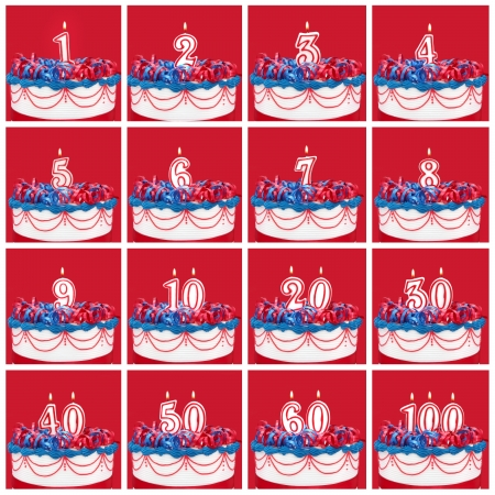 30 40: Number candles on vibrant frosted cake with ribbons.  Useful collection, with vibrant red background.