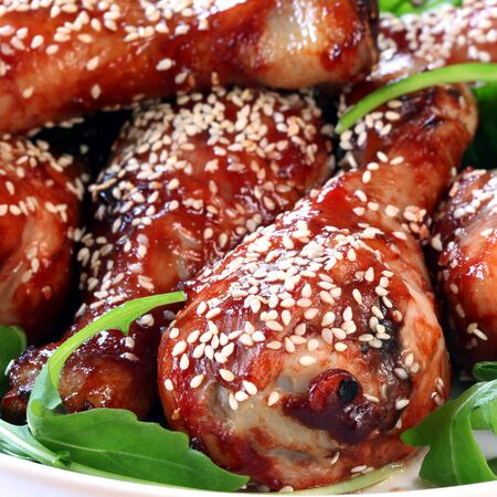 sesame: Chicken drumstricks with honey, soy and sesame seeds.
