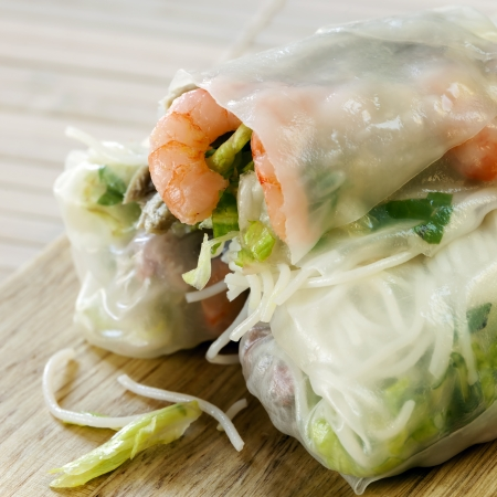 vermicelli: Rice paper rolls with shrimp and beanshoots.