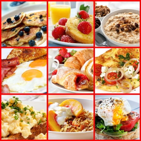 Collage of breakfast images.  Includes pancakes, french toast, oatmeal, bacon and eggs, continental, omelet, muesli, and poached egg. photo