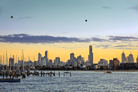 skyline at sunrise: Melbourne, Australia, viewed at dawn from St Kilda