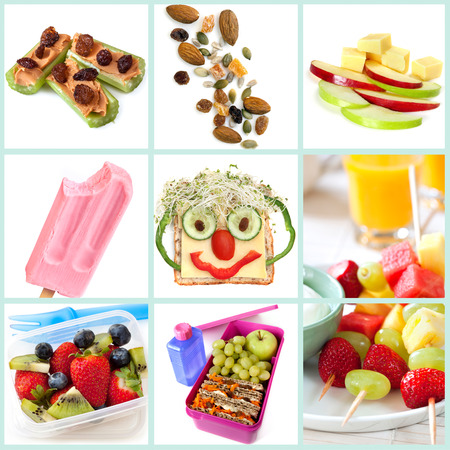food collage: Collection of healthy snacks particularly for children.  Includes ants on a log, trail mix, apple and cheese, frozen yogurt, smiley face sandwich, fruit salad and kebabs, and a healthy lunchbox.