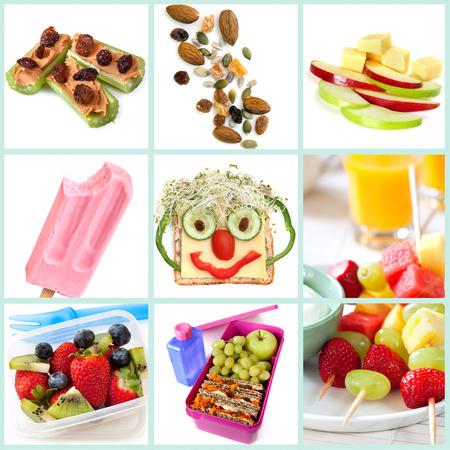 Sammlung von gesunden Snacks besonders für Kinder. Inklusive Ameisen auf einem Baumstamm, Studentenfutter, Apfel und Käse, gefrorenen Joghurt, Smiley-Sandwich, Obstsalat und Kebabs, und eine gesunde Lunchbox. Lizenzfreie Bilder