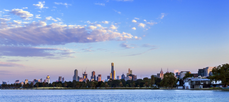 Panorama of Melbourne, Australia, at dawn.  View over Albert Park Lake. Stock Photo