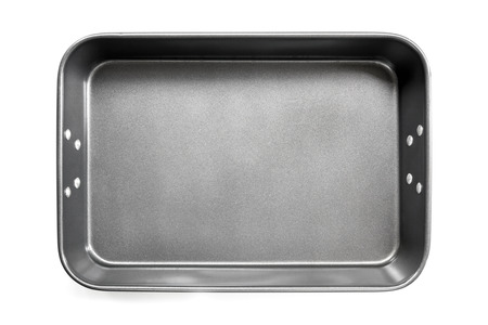baking tray: Empty roasting or baking pan, isolated on white.  Overhead view. Stock Photo