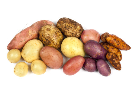 sweet potatoes: Different varieties of potatoes, isolated on white background. Stock Photo