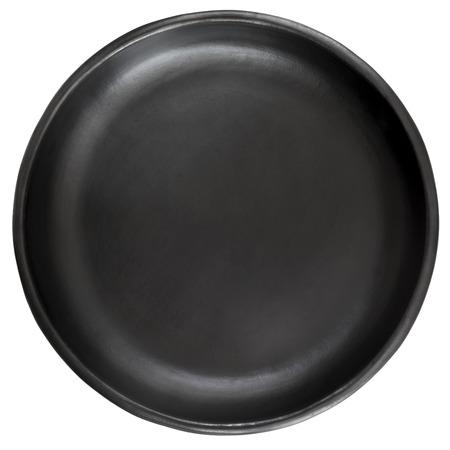 空の黒陶器プレート、白 backgrround に分離されました。