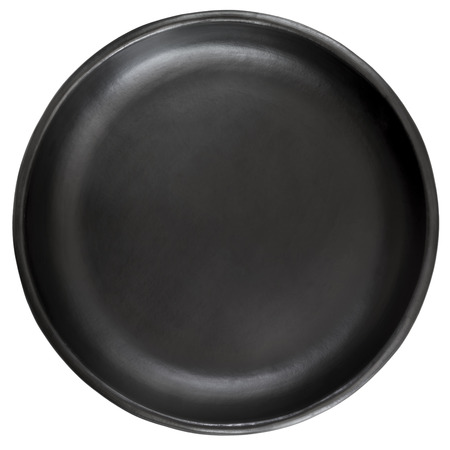 top down: Empty black stoneware plate, isolated on white backgrround. Stock Photo