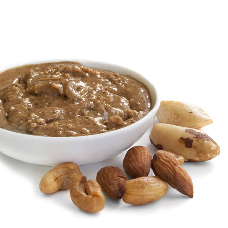 Nut spread, made with cashews, almonds and brazil nuts. photo