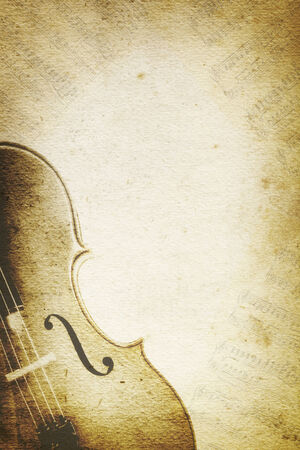 yellowed: Grunge music background with cello and musical notes over paper textures.