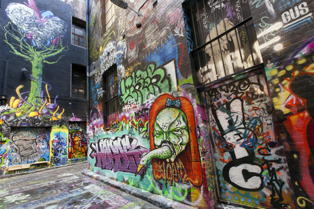 MELBOURNE - March 31:  Street Art in Hosier Lane, Melbourne, Australia. March 31, 2014.  Melbourne is renouned for its street art. Éditoriale