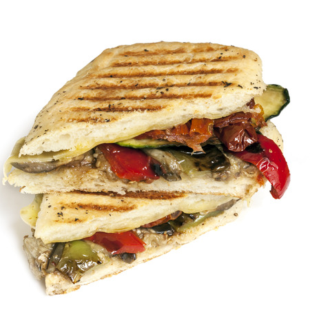Healthy vegetable panini or focaccia, isolated on white. Stock Photo