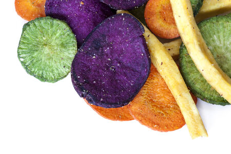 lowfat: Vegetable crisps, isolated.  Healthy snack food. Stock Photo