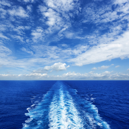 밝은 여름 날에 유람선에서 바다 웨이크.