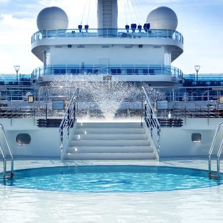 Pool deck on board luxury cruise ship.