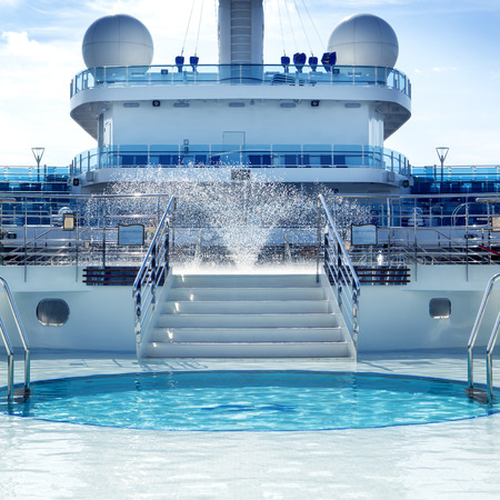 cruising: Pool deck on board luxury cruise ship.