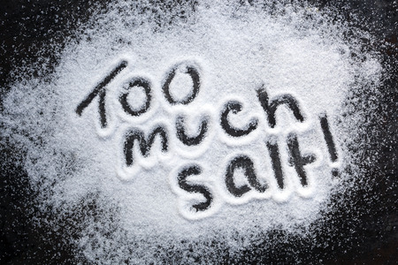 Words too much salt, warning about excessive consumption. photo